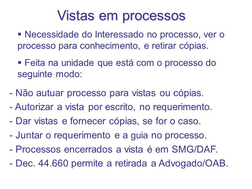 Vistas em processos - Não autuar processo para vistas ou cópias. - Autorizar a vista por escrito, no requerimento. - Dar vistas e fornecer cópias, se