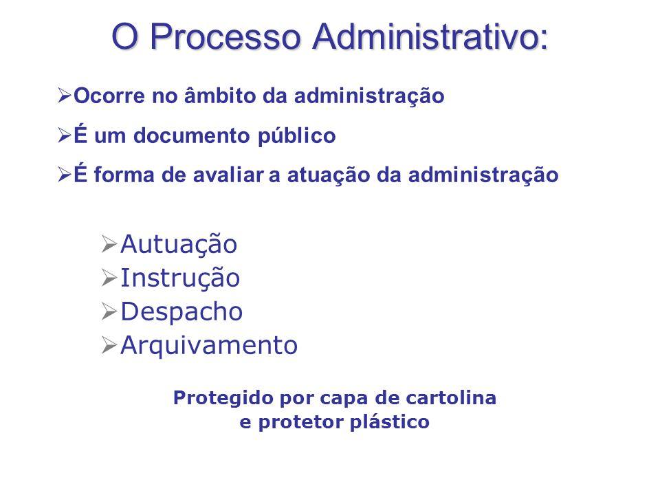 O Processo Administrativo: Autuação Instrução Despacho Arquivamento Protegido por capa de cartolina e protetor plástico Ocorre no âmbito da administra