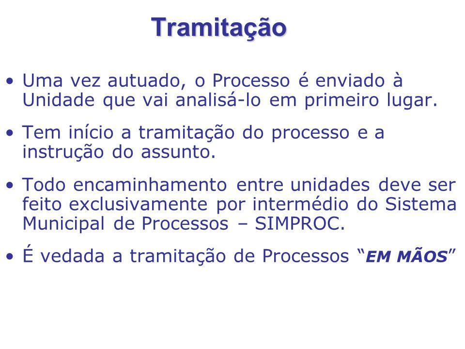 O Processo não pode ficar na situação EM TRÂNSITO por mais de 10 dias EM TRÂNSITO significa: O processo é enviado, mas não é recebido no SIMPROC.
