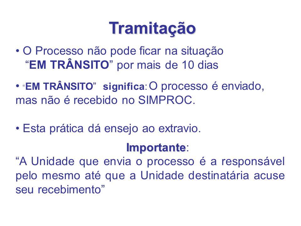 O Processo não pode ficar na situação EM TRÂNSITO por mais de 10 dias EM TRÂNSITO significa: O processo é enviado, mas não é recebido no SIMPROC. Esta