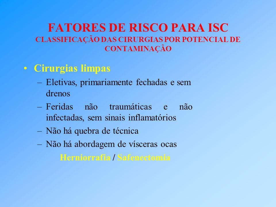 FATORES DE RISCO PARA ISC CLASSIFICAÇÃO DAS CIRURGIAS POR POTENCIAL DE CONTAMINAÇÃO Cirurgias limpas –Eletivas, primariamente fechadas e sem drenos –F