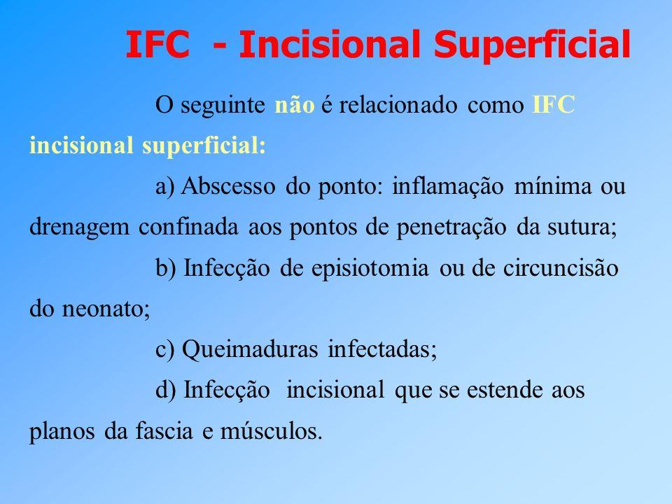 O seguinte não é relacionado como IFC incisional superficial: a) Abscesso do ponto: inflamação mínima ou drenagem confinada aos pontos de penetração d