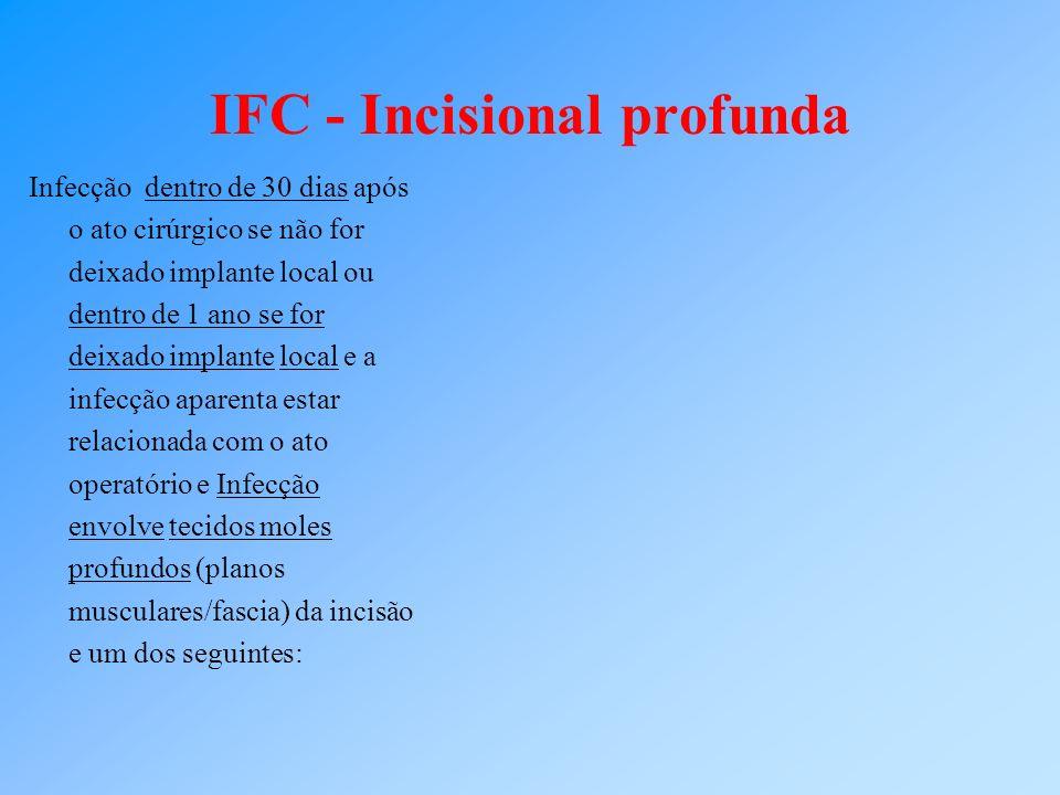 IFC - Incisional profunda Infecção dentro de 30 dias após o ato cirúrgico se não for deixado implante local ou dentro de 1 ano se for deixado implante