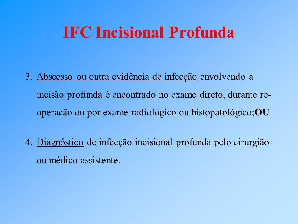IFC Incisional Profunda 3.Abscesso ou outra evidência de infecção envolvendo a incisão profunda é encontrado no exame direto, durante re- operação ou