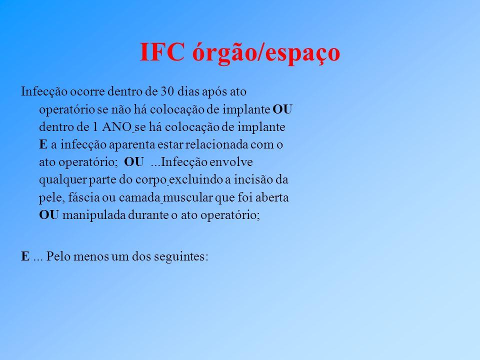 IFC órgão/espaço Infecção ocorre dentro de 30 dias após ato operatório se não há colocação de implante OU dentro de 1 ANO se há colocação de implante