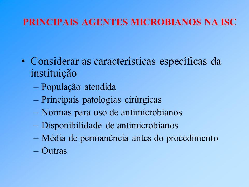 Considerar as características específicas da instituição –População atendida –Principais patologias cirúrgicas –Normas para uso de antimicrobianos –Di