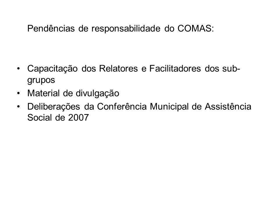 Pendências de responsabilidade do COMAS: Capacitação dos Relatores e Facilitadores dos sub- grupos Material de divulgação Deliberações da Conferência Municipal de Assistência Social de 2007