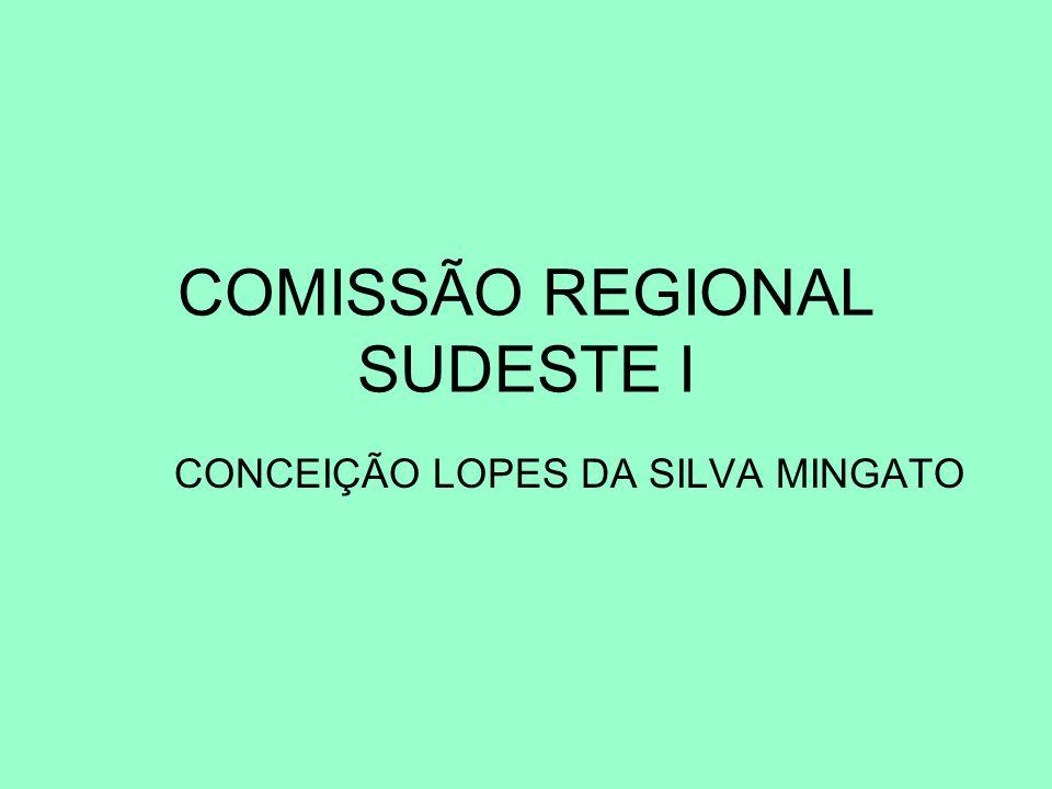 COMISSÃO REGIONAL SUDESTE I CONCEIÇÃO LOPES DA SILVA MINGATO Conceição Lopes da Silva Mingato