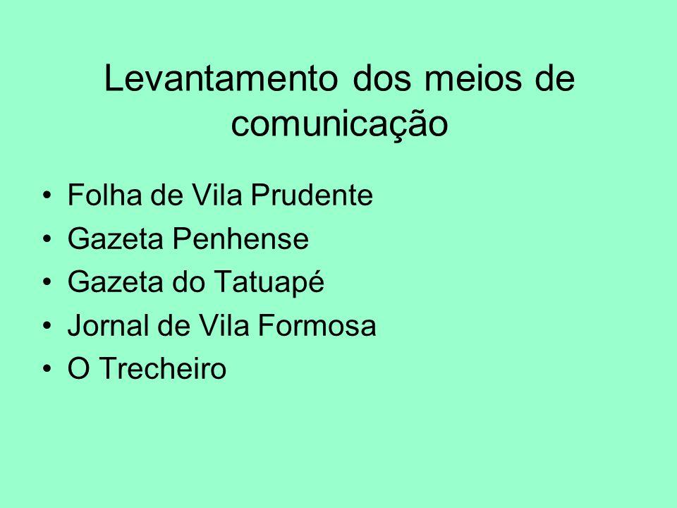 Levantamento dos meios de comunicação Folha de Vila Prudente Gazeta Penhense Gazeta do Tatuapé Jornal de Vila Formosa O Trecheiro