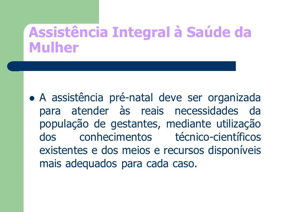 Assistência Integral à Saúde da Mulher A assistência pré-natal deve ser organizada para atender às reais necessidades da população de gestantes, media