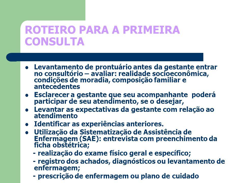 ROTEIRO PARA A PRIMEIRA CONSULTA Levantamento de prontuário antes da gestante entrar no consultório – avaliar: realidade socioeconômica, condições de