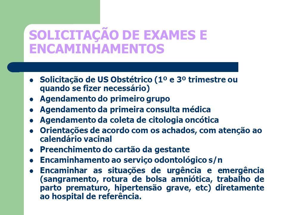 SOLICITAÇÃO DE EXAMES E ENCAMINHAMENTOS Solicitação de US Obstétrico (1º e 3º trimestre ou quando se fizer necessário) Agendamento do primeiro grupo A
