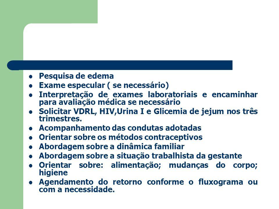 Pesquisa de edema Exame especular ( se necessário) Interpretação de exames laboratoriais e encaminhar para avaliação médica se necessário Solicitar VD