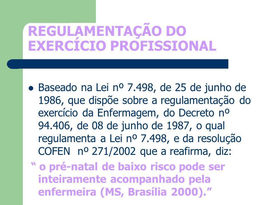 REGULAMENTAÇÃO DO EXERCÍCIO PROFISSIONAL Baseado na Lei nº 7.498, de 25 de junho de 1986, que dispõe sobre a regulamentação do exercício da Enfermagem