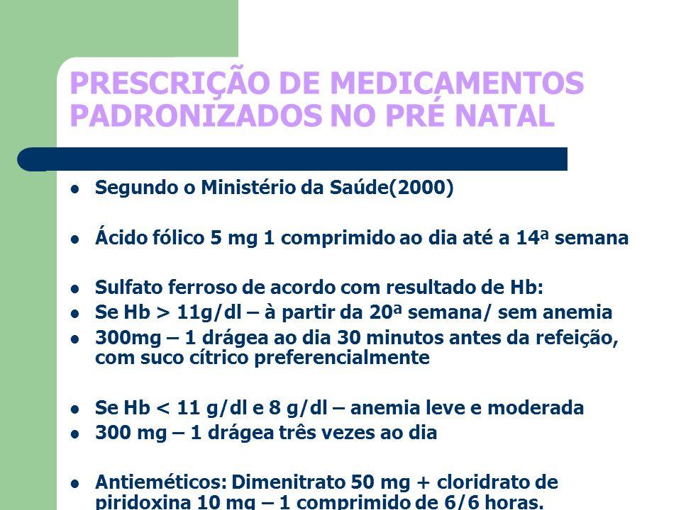 PRESCRIÇÃO DE MEDICAMENTOS PADRONIZADOS NO PRÉ NATAL Segundo o Ministério da Saúde(2000) Ácido fólico 5 mg 1 comprimido ao dia até a 14ª semana Sulfat
