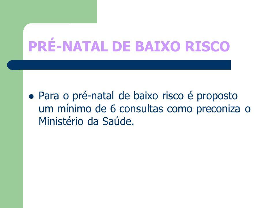 PRÉ-NATAL DE BAIXO RISCO Para o pré-natal de baixo risco é proposto um mínimo de 6 consultas como preconiza o Ministério da Saúde.