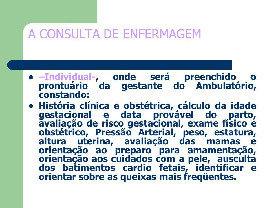 A CONSULTA DE ENFERMAGEM –Individual-, onde será preenchido o prontuário da gestante do Ambulatório, constando: História clínica e obstétrica, cálculo