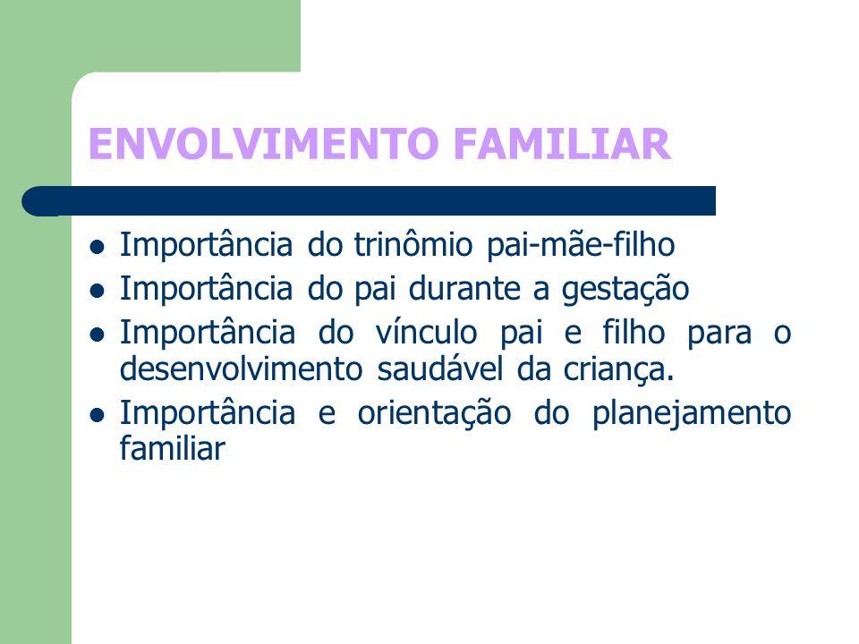 ENVOLVIMENTO FAMILIAR Importância do trinômio pai-mãe-filho Importância do pai durante a gestação Importância do vínculo pai e filho para o desenvolvi