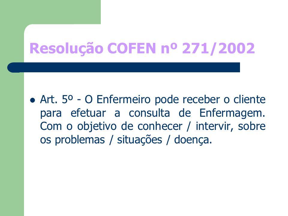 Resolução COFEN nº 271/2002 Art. 5º - O Enfermeiro pode receber o cliente para efetuar a consulta de Enfermagem. Com o objetivo de conhecer / intervir