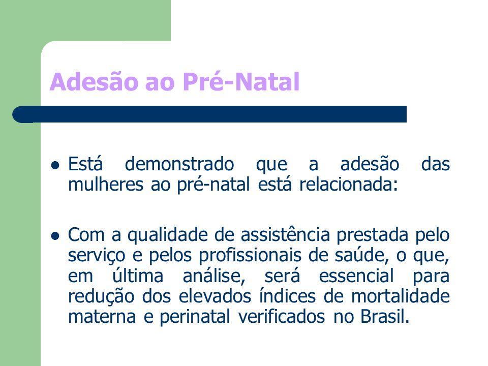 Adesão ao Pré-Natal Está demonstrado que a adesão das mulheres ao pré-natal está relacionada: Com a qualidade de assistência prestada pelo serviço e p