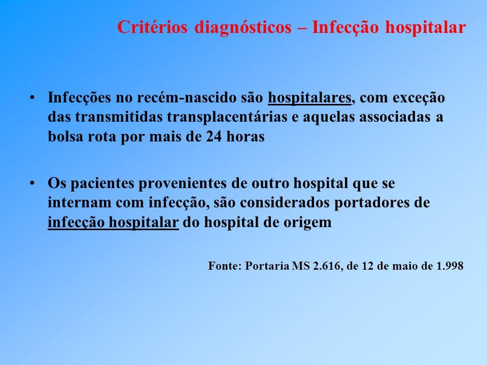 Critérios diagnósticos – Infecção hospitalar Infecções no recém-nascido são hospitalares, com exceção das transmitidas transplacentárias e aquelas ass