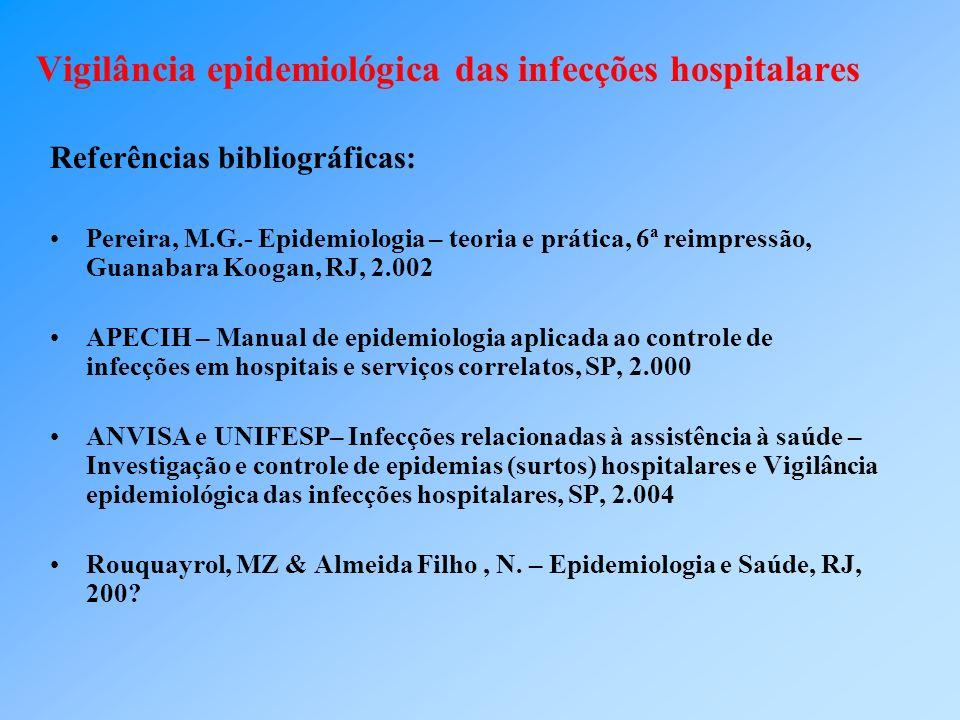 Vigilância epidemiológica das infecções hospitalares Referências bibliográficas: Pereira, M.G.- Epidemiologia – teoria e prática, 6ª reimpressão, Guan