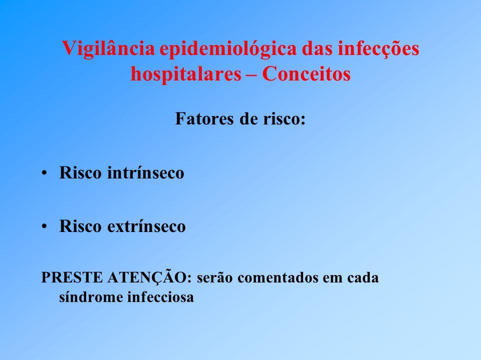 Vigilância epidemiológica das infecções hospitalares – Conceitos Fatores de risco: Risco intrínseco Risco extrínseco PRESTE ATENÇÃO: serão comentados