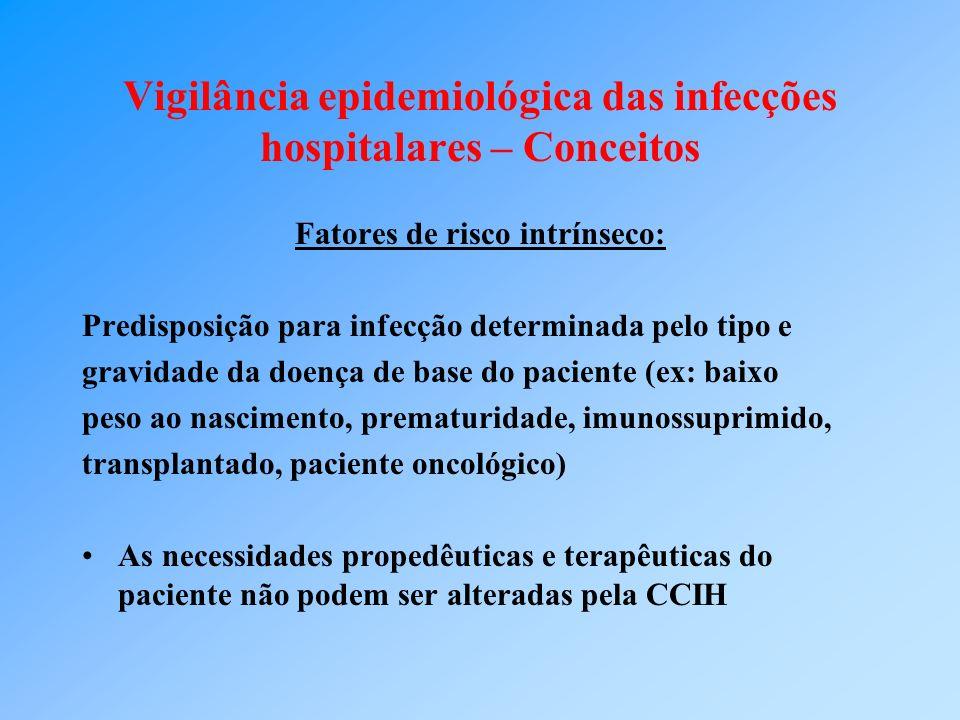 Vigilância epidemiológica das infecções hospitalares – Conceitos Fatores de risco intrínseco: Predisposição para infecção determinada pelo tipo e grav