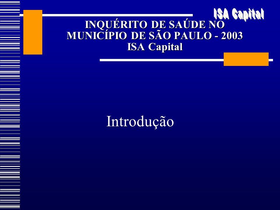 INQUÉRITO DE SAÚDE NO MUNICÍPIO DE SÃO PAULO - 2003 ISA Capital Introdução