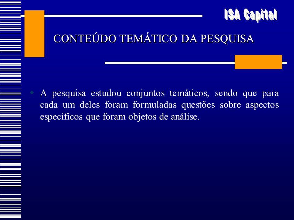Distribuição por idade/sexo e estrato GrupoISA-CapitalCenso-2000 Idade/sexoNo.% ponderado% <14081,611,64 1 a 1143519,7117,51 12 a 19-M4407,757,21 12 a 19 – F4077,547,40 20 a 59 – M38224,7826,67 20 a 59 - F41329,2529,87 60 e + - M4213,713,93 60 e + - F4515,645,77 Total3357100,0100,00