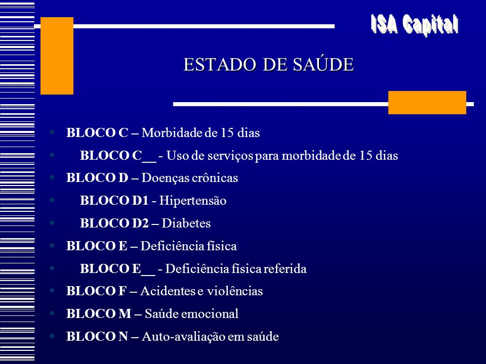 ESTADO DE SAÚDE BLOCO C – Morbidade de 15 dias BLOCO C__ - Uso de serviços para morbidade de 15 dias BLOCO D – Doenças crônicas BLOCO D1 - Hipertensão