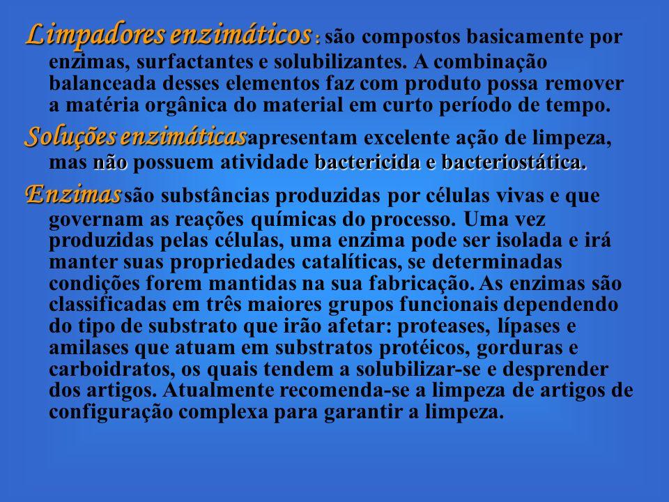 Limpadores enzimáticos : Limpadores enzimáticos : são compostos basicamente por enzimas, surfactantes e solubilizantes. A combinação balanceada desses