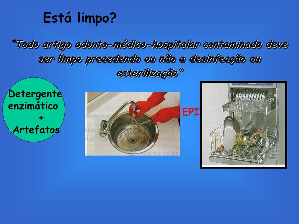 Está limpo? Todo artigo odonto-médico-hospitalar contaminado deve ser limpo precedendo ou não a desinfecção ou esterilização Detergente enzimático + A