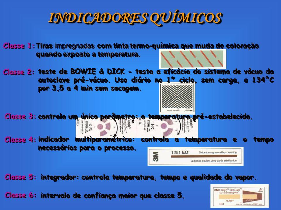 INDICADORES QUÍMICOS Classe 1: intervalo de confiança maior que classe 5. Classe 6: Tiras impregnadas com tinta termo-química que muda de coloração qu