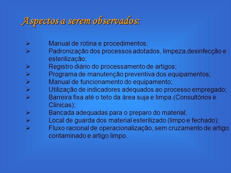 Manual de rotina e procedimentos; Padronização dos processos adotados, limpeza,desinfecção e esterilização; Registro diário do processamento de artigo