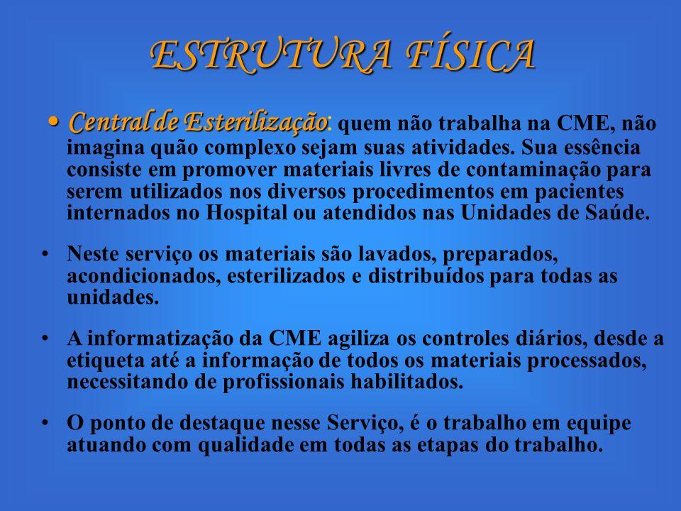 ESTRUTURA FÍSICA Central de EsterilizaçãoCentral de Esterilização : quem não trabalha na CME, não imagina quão complexo sejam suas atividades. Sua ess
