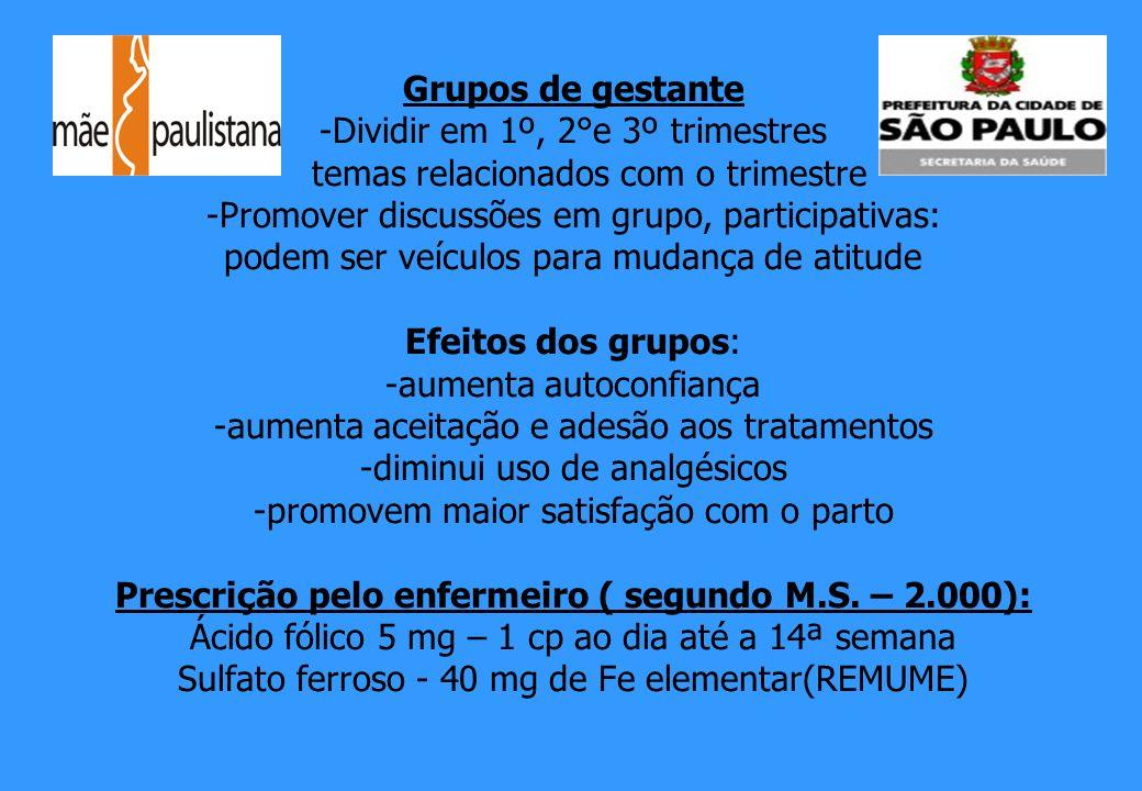 Grupos de gestante -Dividir em 1º, 2°e 3º trimestres temas relacionados com o trimestre -Promover discussões em grupo, participativas: podem ser veícu