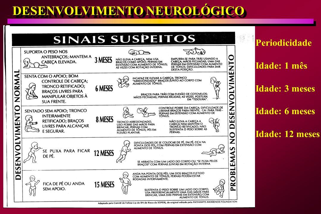 DESENVOLVIMENTO NEUROLÓGICO Periodicidade Idade: 1 mês Idade: 3 meses Idade: 6 meses Idade: 12 meses