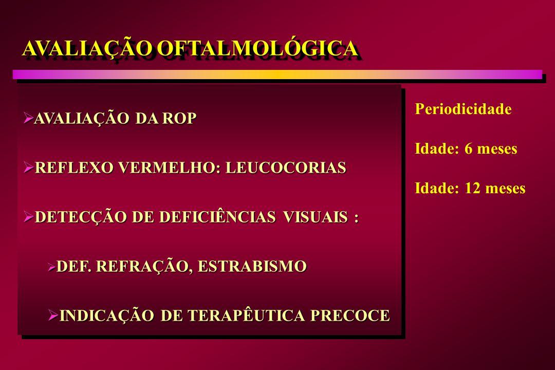 AVALIAÇÃO OFTALMOLÓGICA AVALIAÇÃO DA ROP AVALIAÇÃO DA ROP REFLEXO VERMELHO: LEUCOCORIAS REFLEXO VERMELHO: LEUCOCORIAS DETECÇÃO DE DEFICIÊNCIAS VISUAIS