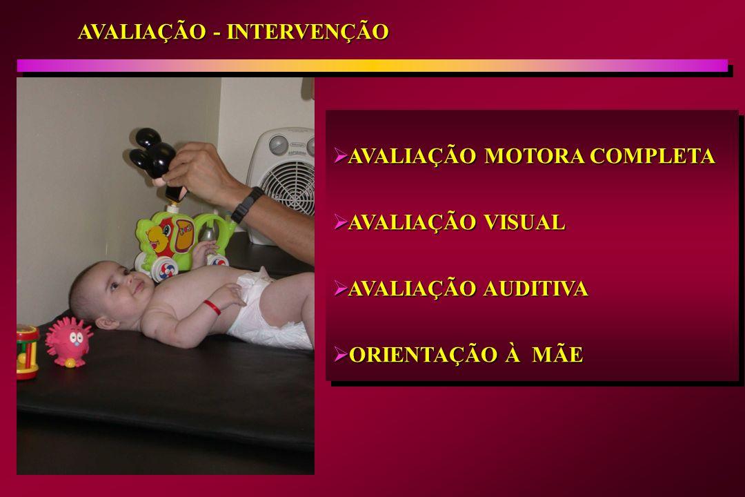 AVALIAÇÃO - INTERVENÇÃO AVALIAÇÃO MOTORA COMPLETA AVALIAÇÃO MOTORA COMPLETA AVALIAÇÃO VISUAL AVALIAÇÃO VISUAL AVALIAÇÃO AUDITIVA AVALIAÇÃO AUDITIVA OR