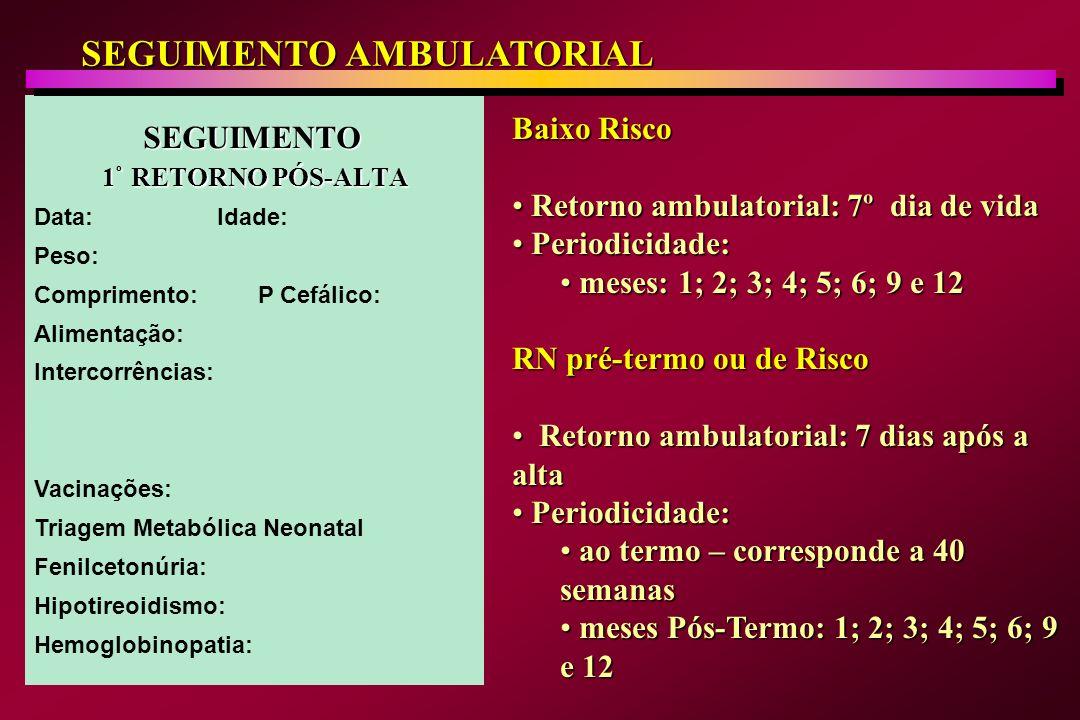 CRITÉRIOS DE RECÉM-NASCIDO DE RISCO Prematuridade (especialmente IG abaixo de 34 semanas) Prematuridade (especialmente IG abaixo de 34 semanas) Asfixia perinatal (Apgar 5 < 6) Asfixia perinatal (Apgar 5 < 6) Infecção congênita: sífilis, AIDS, rubéola, toxoplasmose, citomegalovírus, herpes, chagas, parvovirus, etc) Infecção congênita: sífilis, AIDS, rubéola, toxoplasmose, citomegalovírus, herpes, chagas, parvovirus, etc) Infecção adquirida: sepse, meningite, ECN, osteomielite) Infecção adquirida: sepse, meningite, ECN, osteomielite) Síndromes genéticas e cromossomopatias Síndromes genéticas e cromossomopatias Más-formações graves Más-formações graves Hidropisia fetal imune e não imune Hidropisia fetal imune e não imune Filho de mãe diabética, hipertensa, com doença auto-imune, hematológicas e outras Filho de mãe diabética, hipertensa, com doença auto-imune, hematológicas e outras Filho de mães com idade < 16 anos e/ou analfabeta e/ou com dependência que as impossibilitem de cuidar do RN Filho de mães com idade < 16 anos e/ou analfabeta e/ou com dependência que as impossibilitem de cuidar do RN Risco social Risco social