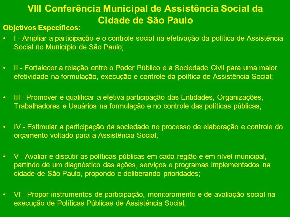 VIII Conferência Municipal de Assistência Social da Cidade de São Paulo Objetivos Específicos: I - Ampliar a participação e o controle social na efeti