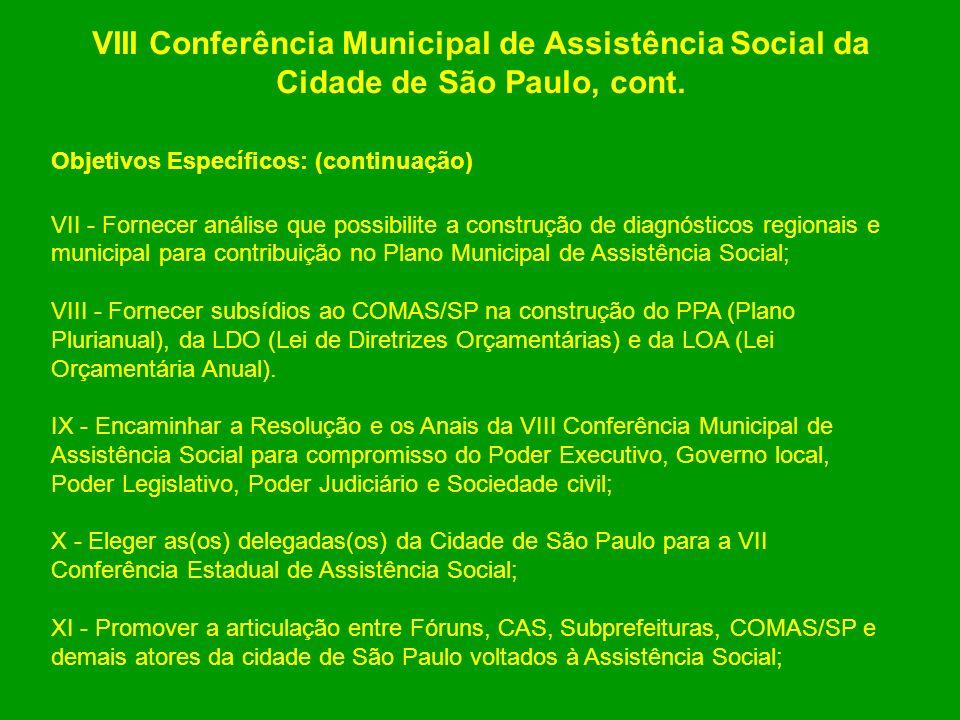 VIII Conferência Municipal de Assistência Social da Cidade de São Paulo, cont. Objetivos Específicos: (continuação) VII - Fornecer análise que possibi