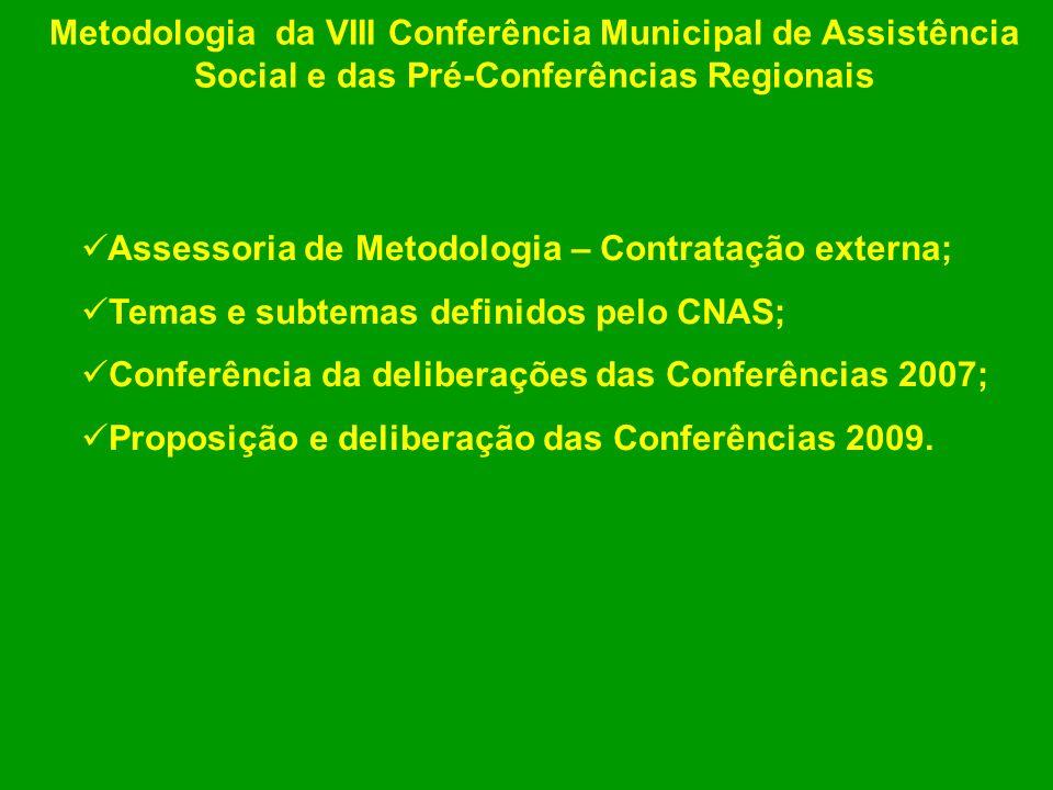 Assessoria de Metodologia – Contratação externa; Temas e subtemas definidos pelo CNAS; Conferência da deliberações das Conferências 2007; Proposição e