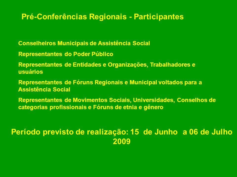 Pré-Conferências Regionais - Participantes Conselheiros Municipais de Assistência Social Representantes do Poder Público Representantes de Entidades e