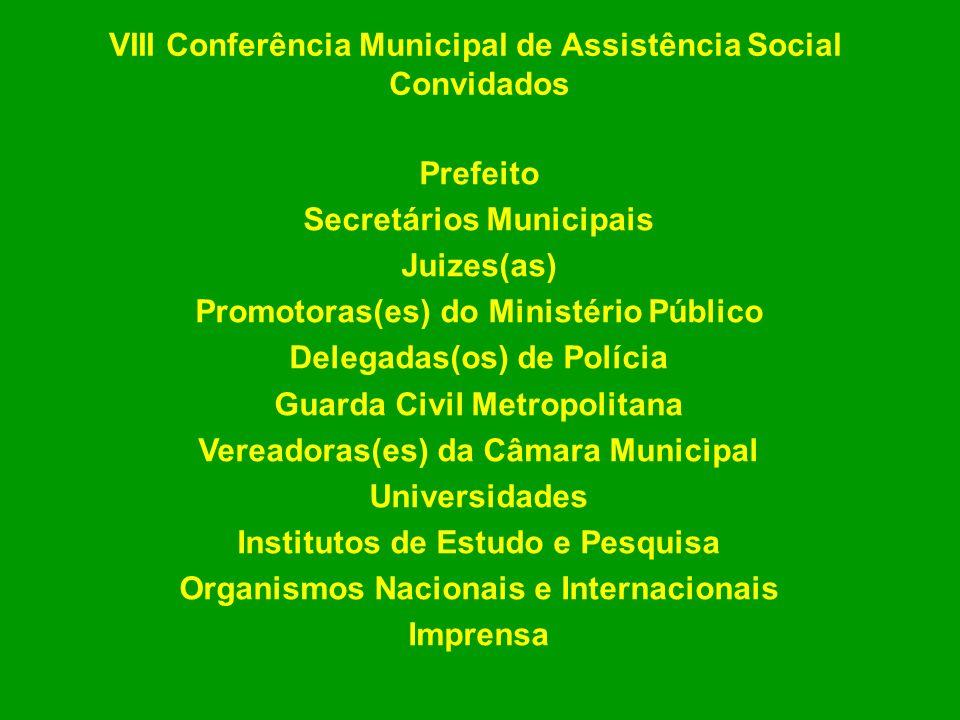 VIII Conferência Municipal de Assistência Social Convidados Prefeito Secretários Municipais Juizes(as) Promotoras(es) do Ministério Público Delegadas(