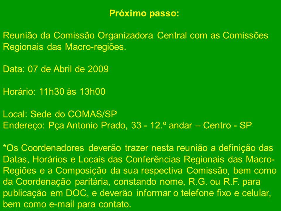 Reunião da Comissão Organizadora Central com as Comissões Regionais das Macro-regiões. Data: 07 de Abril de 2009 Horário: 11h30 às 13h00 Local: Sede d
