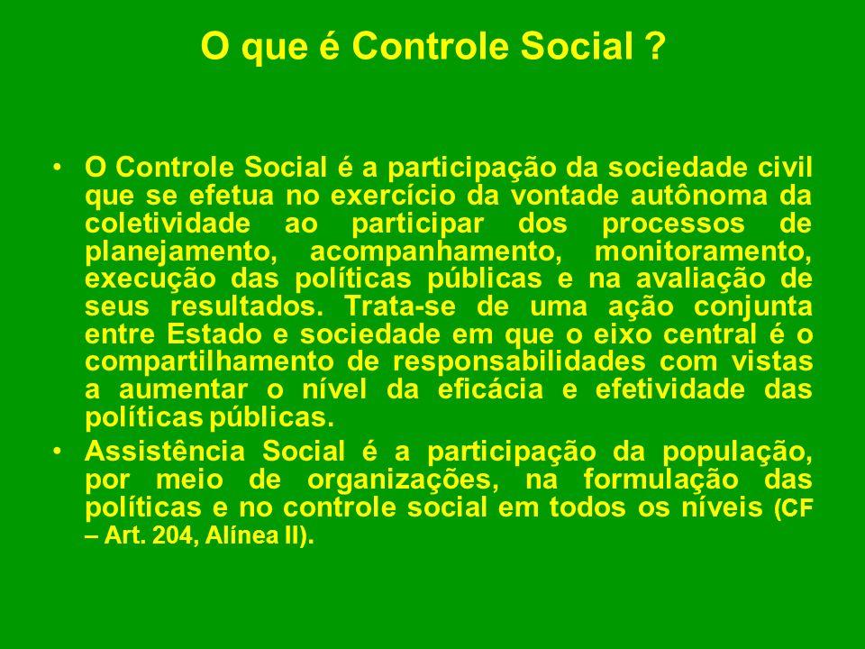 O que é Controle Social ? O Controle Social é a participação da sociedade civil que se efetua no exercício da vontade autônoma da coletividade ao part