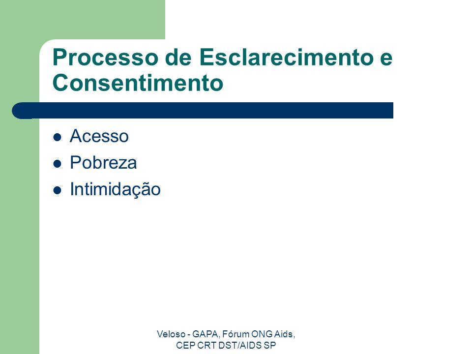 Veloso - GAPA, Fórum ONG Aids, CEP CRT DST/AIDS SP Ética e Dignidade Humana Autonomia Beneficência Não maleficência Justiça