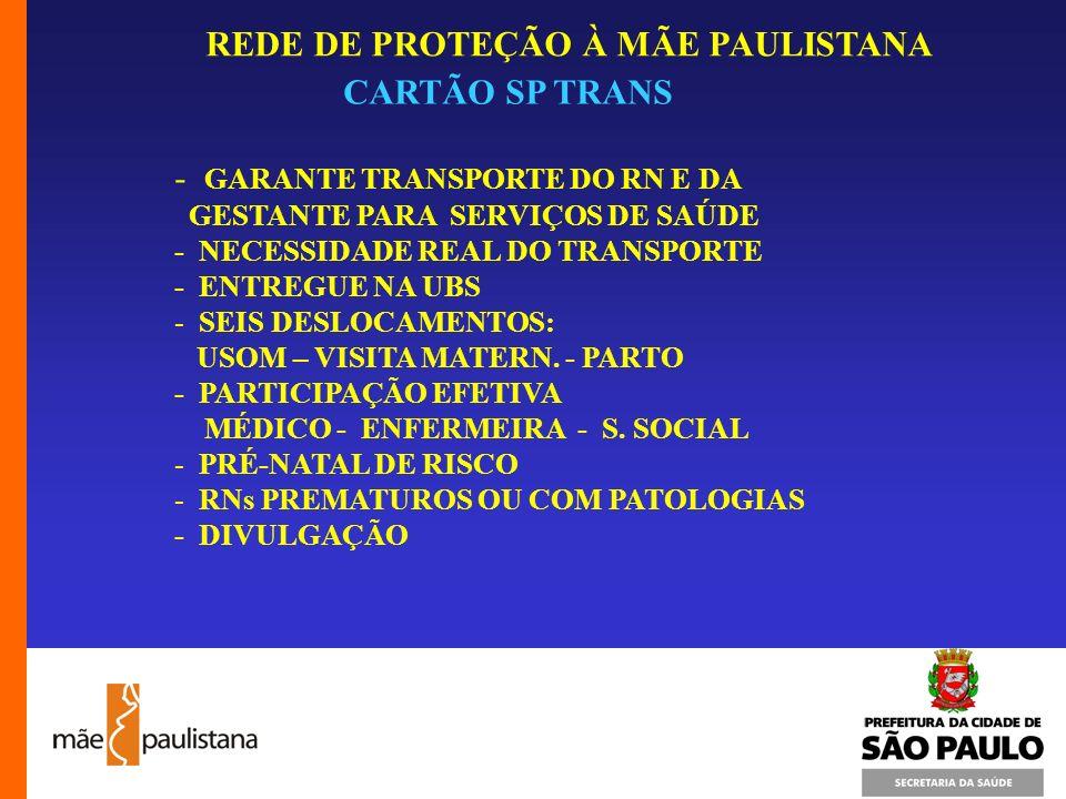 REDE DE PROTEÇÃO À MÃE PAULISTANA CARTÃO SP TRANS - GARANTE TRANSPORTE DO RN E DA GESTANTE PARA SERVIÇOS DE SAÚDE - NECESSIDADE REAL DO TRANSPORTE - E